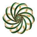Estate Jewelry:Brooches - Pins, Green Beryl, Gold Brooch. ...