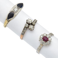 Lot of Diamond, Sapphire, Ruby, Gold Rings