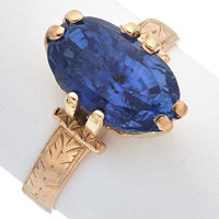 Sapphire, Pink Gold Ring