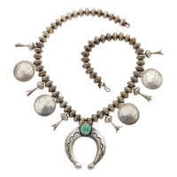 Turquoise, US Coin, Silver Squash Blossom Necklace