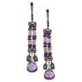 Estate Jewelry:Earrings, Black Diamond, Amethyst, Labradorite, White Gold Earrings. ...