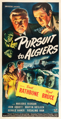 "Pursuit to Algiers (Universal, 1945). Three Sheet (41.5"" X 81.25"")"