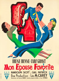"My Favorite Wife (RKO, 1947). First Post-War Release French Grande (46"" X 63"")"