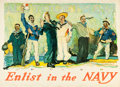 """Movie Posters:War, World War I Propaganda (1917). Henry Reuterdahl Recruitment Poster(31.5"""" X 43.25"""") """"All Together -- Enlist in the Navy."""". ..."""