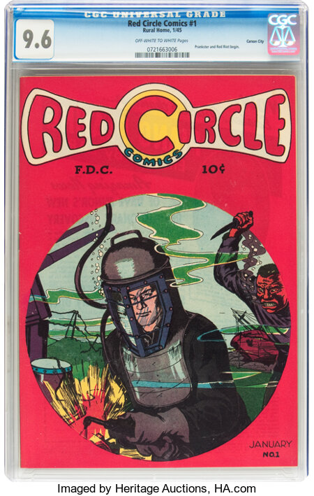 Red Circle Comics #1 Carson City pedigree (Rural Home , 1945) CGC NM+ 9.6 Off-white to white pages....