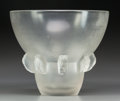 Art Glass:Lalique, R. Lalique Frosted Glass Carthage Vase. Circa 1930. Wheelcarved R. LALIQUE. M p. 449, No. 1051. Ht. 7 in.. ...