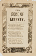 Books:Music & Sheet Music, [Music]. Nineteenth-Century Illustrated Song Sheet Entitled, The Rock of Liberty. New York: H. De Marsan, [n.d., cir...