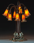 Art Glass:Tiffany , Tiffany Studios Bronze and Favrile Glass Ten-Light LilyLamp. Circa 1910. Stamped TIFFANY STUDIOS, NEW YORK 381;... (Total:11 Items)