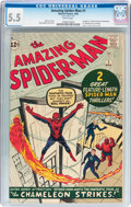 Silver Age (1956-1969):Superhero, The Amazing Spider-Man #1 (Marvel, 1963) CGC FN- 5.5 White pages....