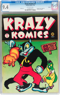 Krazy Komics #1 Denver pedigree (Timely, 1942) CGC NM 9.4 Off-white pages