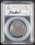 Baseball Collectibles:Others, 2014 Ryne Sandberg Signed Baseball Hall of Fame Silver 50 Cent PCGSMS70 Coin. ...