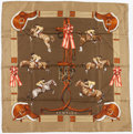 "Luxury Accessories:Accessories, Hermes 90cm Green & Brown ""Jumping,"" by Phillipe Ledoux SilkScarf. Very Good Condition. 36"" Width x 36"" Length...."