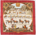 "Luxury Accessories:Accessories, Hermes 90cm Beige, Red & Gold ""Presentation de Chevavx,"" byPhillipe Ledoux Silk Scarf. Very Good to ExcellentCondition..."