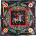 "Luxury Accessories:Accessories, Hermes 90cm Black, Red & Green ""Feux d'Artifice,"" by MichelDuchene Jacquard Weave Silk Scarf. Excellent Condition.36..."