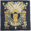"Luxury Accessories:Accessories, Hermes 90cm Blue & Gold ""Mexique,"" by Cathy Latham Silk Scarf.Excellent Condition. 36"" Width x 36"" Length. ..."