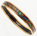 "Luxury Accessories:Accessories, Hermes 70mm Burgundy, Blue, and Green ""Qu'Importe Le'Facon"" Enamel Bangle Bracelet with Gold Hardware. Very Good to Excell..."