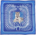 "Luxury Accessories:Accessories, Hermes 70cm Blue & White ""Tigre Royal,"" by Christiane VauzellesSilk Scarf. Very Good to Excellent Condition. 28""Widt..."