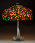Art Glass:Other , Leaded Glass Floral Table Lamp. Circa 1915. Stamped HANDEL. Ht. 27x Di. 22 in.. ...