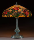Art Glass:Other , Wilkinson Leaded Glass and Bronzed Metal Rose Table Lamp.Circa 1910.. Ht. 27 x Di. 22 in.. ...