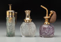 Art Glass:Lalique, Three R. Lalique Glass Atomizers. Calendal, Sussfeld Fleurs,and Epines No. 4. Circa 1923-1927. Engraved Molinard ...(Total: 3 Items)