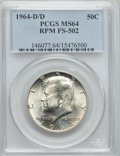 Kennedy Half Dollars, 1964-D/D 50C Repunched Mintmark, FS-502 MS64 PCGS. PCGS Population(10/6). Mintage: 156,205,440. ...