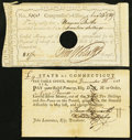 Colonial Notes:Connecticut, Connecticut Interest Certificate 17 Shillings August 13, 1789 Anderson CT-49 Fine-VF, HOC with two pieces missing from the t... (Total: 2 notes)