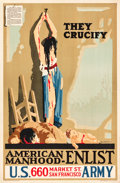 "Movie Posters:War, World War I Propaganda (U.S. Government Printing Office, 1917).Propaganda Poster (28"" X 42"") ""They Crucify."". ..."