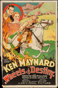 "Movie Posters:Western, Wheels of Destiny (Universal, 1934). One Sheet (27"" X 41""). Western.. ..."