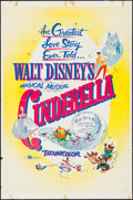 "Movie Posters:Animation, Cinderella & Others Lot (Buena Vista, R-1957). One Sheets (2)(27"" X 41"") & Trimmed One Sheet (27"" X 38.5""). Animation.. ...(Total: 3 Items)"