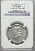 Coins of Hawaii, 1883 50C Hawaii Half Dollar -- Harshly Cleaned -- NGC Details. VF.NGC Census: (5/516). PCGS Population (11/754). Mintage: ...