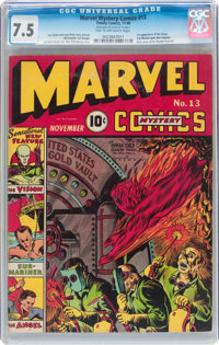Marvel Mystery Comics #13 (Timely, 1940) CGC VF- 7.5 Tan to off-white pages