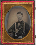 Military & Patriotic:Civil War, Quarter Plate Ambrotype of Armed Soldier....