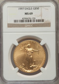 Modern Bullion Coins: , 1997 $50 One-Ounce Gold Eagle MS69 NGC. NGC Census: (923/81). PCGS Population (1085/21). Numismedia Wsl. Price for problem...