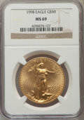 Modern Bullion Coins: , 1998 $50 One-Ounce Gold Eagle MS69 NGC. NGC Census: (1382/127). PCGS Population (1833/74). Numismedia Wsl. Price for probl...