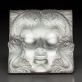 Art Glass:Lalique, Lalique Clear and Frosted Glass Masque de Femme. With metalstand.. Post 1945. Engraved Lalique, France with ori...(Total: 3 Items)