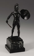 Fine Art - Sculpture, European:Antique (Pre 1900), Roman Soldier . . Karl Kawalczewsky (German, 1876). Late 19th century. Bronze with black patina mounted on a green marbl...