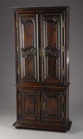 Furniture : French, French Provincial Walnut Two Part Cabinet. Circa 1780-1800. Walnut.90 x 42 x 18 inches (228.6 x 106.7 x 45.7 cm). ...