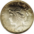 Peace Dollars: , 1924-S $1 MS65 NGC. This piece exhibits a striking characteristiccommon to many S-mint Peace...