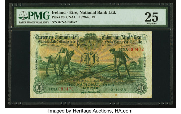 World Currency Ireland Commission The National Bank Limited 1 2 11 1938pick