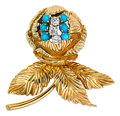 Estate Jewelry:Brooches - Pins, Diamond, Turquoise, Gold Brooch, Tiffany & Co.. ...
