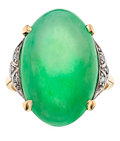 Estate Jewelry:Rings, Jadeite Jade, Diamond, Gold Ring. ...