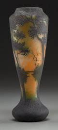 Art Glass:Daum, Daum Overlay Glass Landscape Vase. Circa 1900. Cameo Daum,Nancy (with Cross of Lorraine). Ht. 12-1/2 in.. ...