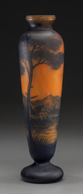 Art Glass:Other , Richard Overlay Glass Landscape Vase. Circa 1910. CameoRichard. Ht. 14-3/4 in.. ...