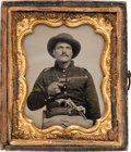 Photography:Ambrotypes, Cased Ambrotype: Double Armed Soldier....