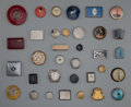 Art Glass:Other , Thirty-Four Assorted Art Deco Compacts. Circa 1920-1935.. Glass,enamel, metal, brands including Tourneur, Max Factor.. Di....(Total: 34 Items)