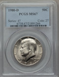 Kennedy Half Dollars, 1980-D 50C MS67 PCGS. PCGS Population (34/1). NGC Census: (11/0).Mintage: 33,456,448. Numismedia Wsl. Price for problem fr...