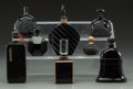 Art Glass:Other , Eight Various Art Deco Black Glass Perfumes. Circa 1930-1940..Brands including Molinard, D'Orsay, Cartier. Ht. 6-1/2 in. (l...(Total: 8 Items)