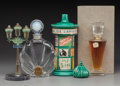 Glass, Four Various Perfumes. Circa 1940-1950.. Steel, glass, ceramic, brands including Corday, Guerlain.. Ht. 10-5/8 in. (tallest)... (Total: 4 Items)