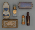 Art Glass:Other , Group of Six Assorted Perfumes. Circa 1900-1920.. Wood, glass,card, brands including Houbigant, Roger et Gallet.. Ht. 4-3/...(Total: 6 Items)