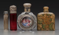 Art Glass, Four Victorian Perfume Bottles. Circa 1880-1900.. Glass, silver,collage, painted miniature.. Ht. 3-1/4 in. (tallest). ... (Total: 8Items)